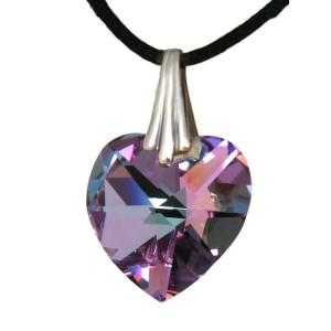 Swarovski-Kristallherz violett mit einer Kordelkette