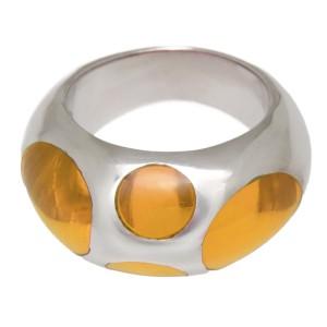 Stahlring mit gelbem Acryl Kreisen