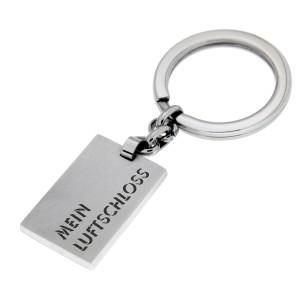 Rechteckiger Schlüsselanhänger aus Edelstahl mit Ihrer Wunschgravur
