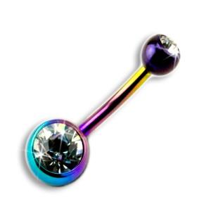 Titan Piercing Bauchnabel mit klarem Stein, 2 juwellierte Kugeln