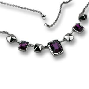 Halscollier aus Edelstahl mit violetten Kristallen