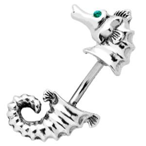 Bauchnabel Piercing mit doppeltem Design - Seepferdchen und Swarovski