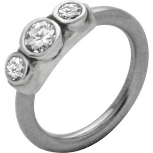 Front Closure Ring mit 925 Sterling Silber Verschluß und Swarovski Kristall