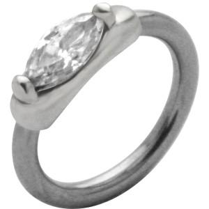 Front Closure Ring mit 925 Sterling Silber Verschluß und  ovalem Swarovski Kristall