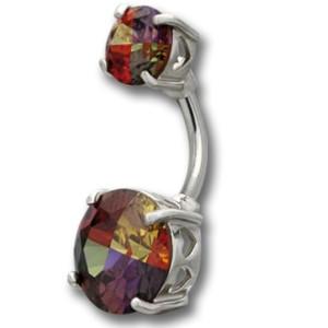 Bauchnabel Piercing mit zwei Multi-Color Kristallen, 7 & 11mm Durchmesser