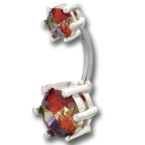 Bauchnabelpiercing mit zwei Multi-Color Kristallen