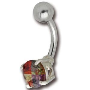 Bauchnabel Piercing mit einem Multi-Color Kristall, 11mm Durchmesser