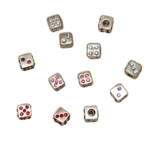 Schraubaufsatz Würfel aus 925 Silber mit 1.6mm Gewinde und Kristallen als Augenzahl