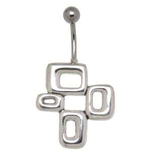 Bauchnabelpiercing im Retrostyle mit 925 Silber Design #Size#