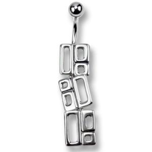 Bauchnabelpiercing im Retrostyle rechteckig mit 925 Silber Design #Size#