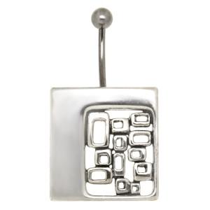 Bauchnabelpiercing im Retrostyle quadratisch mit 925 Silber Design 1.6x6mm / 1.6x8mm / 1.6x10mm / 1.6x12mm
