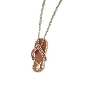 PLAYBOY Halskette mit Flip-Flop Anhänger und rosa Kristallsteinen