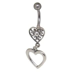 Bauchnabelpiercing mit einem Retro-Herz-Design aus 925 Silber #Size#
