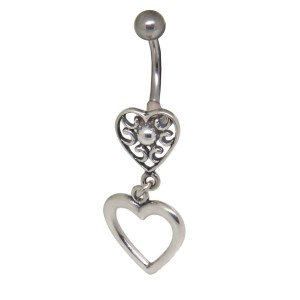 Bauchnabelpiercing mit einem Retro-Herz-Design aus 925 Silber