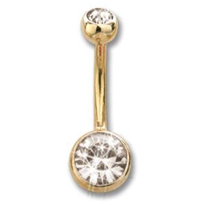 14 Karat Gold Stab mit zwei Kristallen