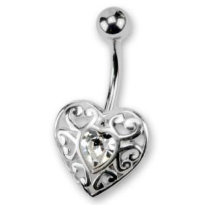Bauchnabelpiercing mit Herzdesign und Kristallstein