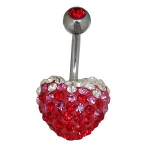Bauchnabel Körperschmuck Piercing mit Herz - rundum mit Kristallen besetzt