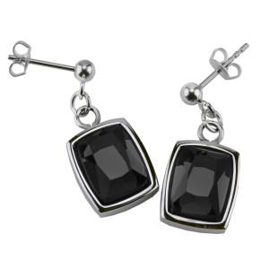 Ohrringe Edelstahl Kristall schwarz