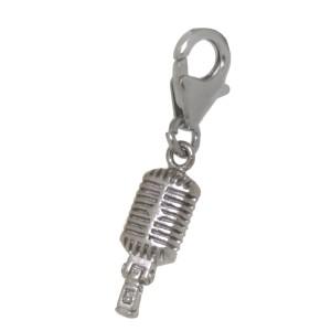 Charm-Anhänger Mikrofon aus 925 Sterling Silber