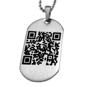 Dog TagStahlanhänger mit persönlichen QR-Code