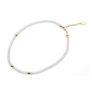 Halskette aus geknotetem Edelstahl mit eingearbeiteten Kristallen