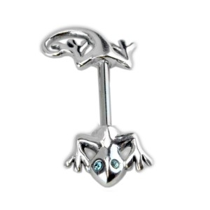 Bruststab mit 925 Sterling Silber - Salamander, Längen und Kristallfarben wählbar
