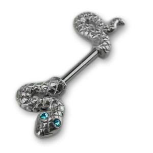 Bruststab mit 925 Sterling Silber - Schlangen, Längen und Kristallfarben wählbar