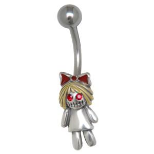 Bauchnabelpiercing mit einem Zombie Puppe mit blonden Haaren als Design 1.6x10mm