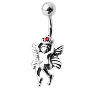Bauchnabel Piercing mit einer Putte mit Krone als Motiv