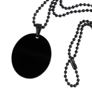 Ovaler Edelstahlanhänger mit schwarzer PVD-Beschichtung, 30x25mm