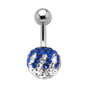 Bauchnabelpiercing mit vielen blauen und weissen Kristallen in einer Epoxitmasse in 6-14mm Länge