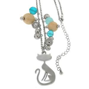 Halskette mit Katzendesign und Kunstperlen, blau