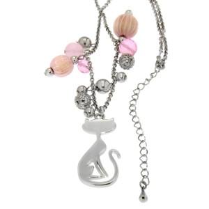 Halskette mit Katzendesign und Kunstperlen, pink