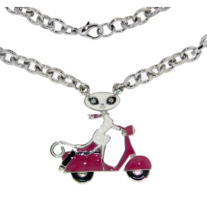 Halskette French Kitty auf Roller, pink