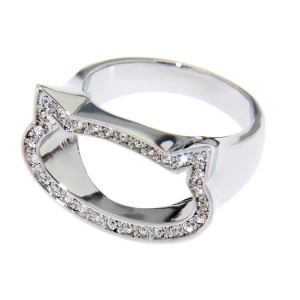 Ring mit Katzenkopf Silhouette und Kristallen