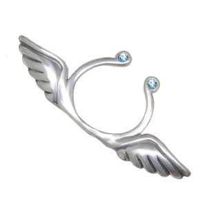 Brustclip aus 925 Sterling Silber mit Engelsflügel und zwei Kristallen als Design