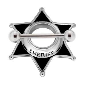 Brustwarzen Piercing Schild 925 Silber Sheriffstern  Motiv