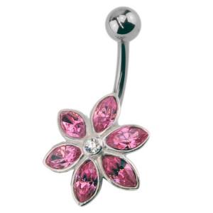 Bauchnabel Piercing mit 925  Silber Blüten Motiv 464