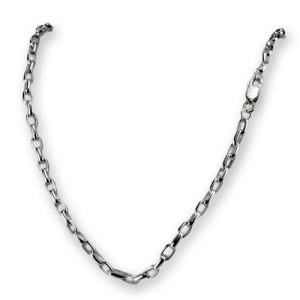 Ankerkette aus 925 Silber in zwei Längen mit 4mm Kettenglieder und Karabinerverschluß