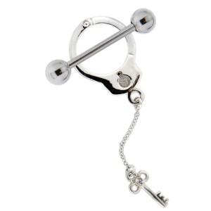 Brustwarzen Piercing Schild aus 925 Sterling Silber Handschellendesign mit kleinem Schlüssel