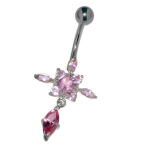 Bauchnabel Piercing mit gefassten Zirkonien, geometrische Blüte, Kristallfarben wählbar