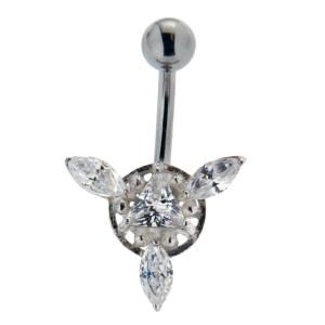 316L Chirurgenstahl Bauchnabel Piercing 1.6x10mm w.925* bloom, kristallklar