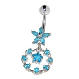 Bauchnabel Piercing - Blüten aus Sterling Silber mit Zirkonien