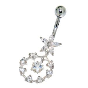 316L Chirurgenstahl Bauchnabel Piercing 1.6x10mm w.925* bloom&loop, kristallklar