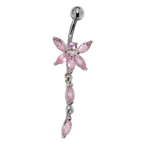 Bauchnabel Piercing - Schmetterling aus Sterling Silber mit Zirkonien-Flügeln, rosa