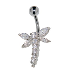 Bauchnabel Piercing - Libelle aus Sterling Silber mit Zirkonien-Flügeln