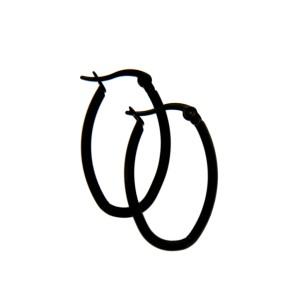 Ohrringe aus Stahl, schwarze Ovale mit Klick-Verschluß