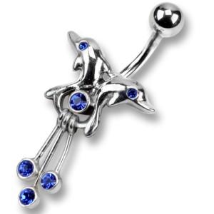 Bauchnabel Piercing mit 925 Sterling Silber, symmetrische Delphine