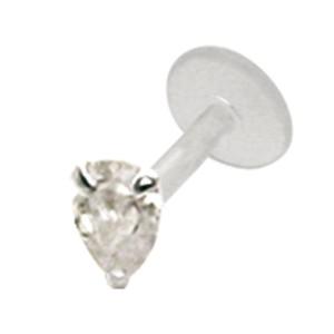 Bioplast Stecklabret mit kleinem Kristall, crystal, 1.2x6mm / 1.2x8mm / 1.2x10mm