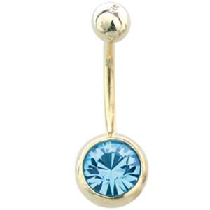 9 Karat Gold Stab mit Kristall in der unteren Kugel